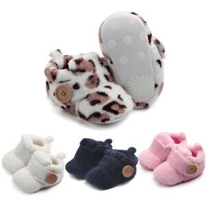 Newborn Baby Boy&Girl Cute First Walker Shoes Round Toe Flats Soft Slipper Shoes