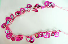LONG NECKLACE_EYECATCHING PINK MOTHER OF PEARL DISCS_SILVER DETAIL_TWISTED STYLE