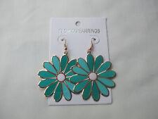 3 Tone Enamel Flower Drop Earrings Dark Green, Jade, Sea Green White Centre New