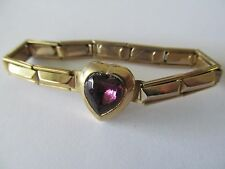 VINTAGE BABY-PRE TEEN`s GOLD PLATED w/AMETHYST CRYSTAL STRETCH BANGLE BRACELET