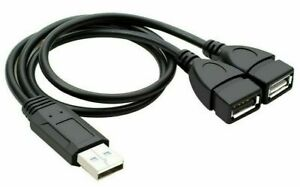 Male USB 2.0 A 1 to 2 Dual USB Female Data Hub Power Adapter Y Splitter Cable