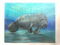Original Acrylic Painting Underwater Manatee Marine Life 8x10 Canvas Panel