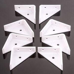 "8x White Lipped Corner Brace 50mm/2"" Plastic Angle Brackets Furniture Fix/Join"