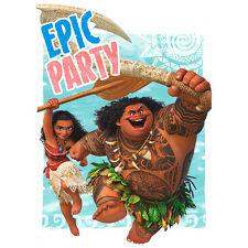 MOANA INVITATIONS (8) ~ Birthday Party Supplies Stationery Cards Notes Disney