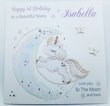 Personalised Unicorn Birthday Card Niece Daughter Granddaughter. Any Age