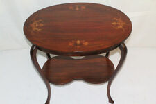 Charming Art Nouveau Inlaid Mahogany Oval Side End Table Circa 1925
