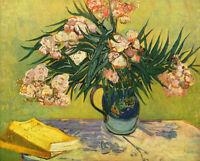 Dream-art Oil painting Vincent Van Gogh still life nice flowers in vase & books