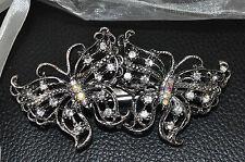 BUTTERFLY Barrette 8.5cm Vintage Diamante Hair Clip Grips Slides FREE Gift Bag!!