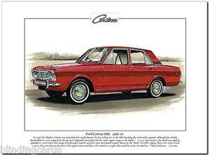 FORD CORTINA Mk2 1966-70 - Fine Art Print  A4 size - Saloon De Luxe Super 1600GT