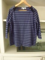 BODEN BLUE BLACK STRIPED BRETON TOP - VELVET LACE DETAIL (WO075) - SIZE 16