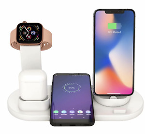 4 in 1 Charger Station For AirPods Apple Watch iPhone Dock Stand Wireless Charge