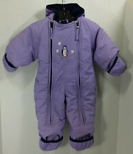 LL Bean Cold Buster Infant Girls Purple Hooded Snowsuit Snow Suit Sz 6-12 Months