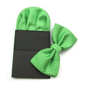 Men's Handkerchief Bow Tie Pocket Square Set White Polka Dots Bowtie Hanky