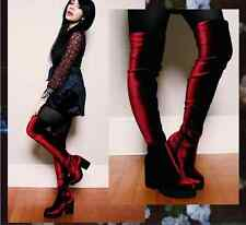 SUPER SEXY!!!  MIISTA 'EMI' HIGH HEEL RED STRETCH  VELVET OVER THE KNEE  BOOTS 9