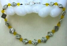 Yellow Jade Beads 9.5� Long Anklet Ankle Bracelet Silver Tone