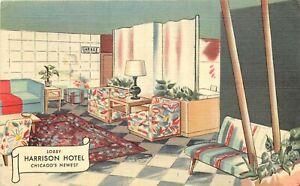 Linen Postcard Mid-Century Modern Lobby Harrison Hotel Chicago IL Artist Impres.
