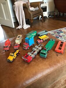 collection of die cast lorries and trailers 1960s and 1970s Matchbox and Corgi