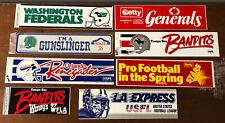 1983-85 USFL Lot of 8 Bumper Stickers Federals,Gunslingers,Renegades,Generals