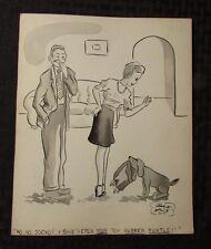 Vintage Charles Chas Sage 8x10 One Panel Gag Original Art Wash DOG FETCH