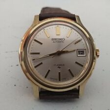 SEIKO 1970s RARE AUTOMATIC 7005-7110 VINTAGE WATCH UHREN GOLD PLATED CASE 36mm