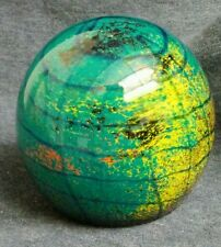 PAPERWEIGHT BLUE MULTI-COLORED GLASS BALL GLOBE SPHERE 3.5""