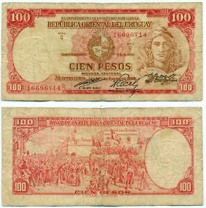 URUGUAY NOTE 100 PESOS L.1939 (1967) CR# 3D3.1 P 43c