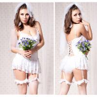 Women Honeymoon Bridal Lace Dress Pants Lingerie Sleepwear Underwear Set Costume