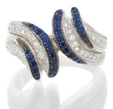 925 STERLING SILVER MICROPAVE BLUE SPINEL & WHITE CZ RING SIZE 7