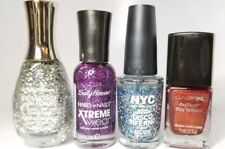 GLITTER POLISH lot of 4 - Covergirl, Sally Hansen & NYC - red purple silver blue