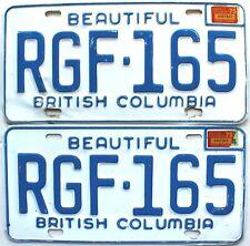 1975 British Columbia Automobile Car license plates pair # Rgf-165