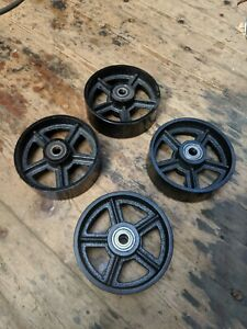 """Industrial 6""""/150mm cast iron caster wheels for industrial furniture. Set of 4."""