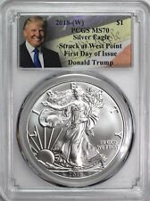 2018 (W) $1 Silver Eagle PCGS MS70 First Day of Issue Donald Trump Label