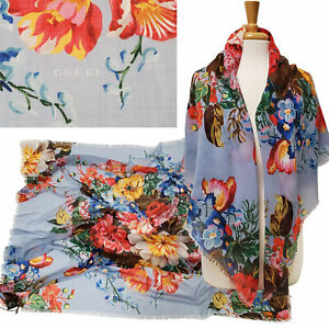 """GUCCI SCARF JOSEPHINE LIGHT BLUE BLOOM FLORAL PRINT w LOGO WOOL SQUARE 47"""""""