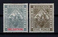 P131897/ BARBADOS / BRITISH COLONY / SG # 116 - 120 WHITE PAPER MINT MH - CV 60