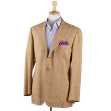NWT $1995 BELVEST Tan Windowpane Check Cotton-Cashmere Sport Coat 40 R