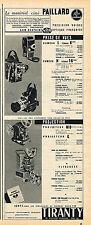 PUBLICITE ADVERTISING 124  1953  TIRANTY  matériel ciné PAILLARD BOLEX