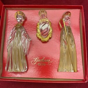 GORHAM CRYSTAL with Gold Trim Nativity 3 Piece Set - Made in GERMANY