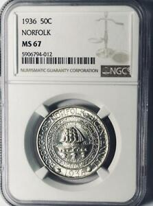 1936  Norfolk Commemorative Silver Half Dollar - NGC MS 67 - Mint State 67