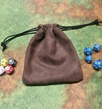 Brown Suede dice bag, card bag, makeup bag