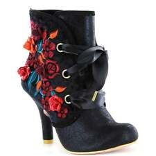 Irregular Choice Autumn Harvest Womens Black Embroidered Flowers Ankle BOOTS UK 7 (eu Size 40)