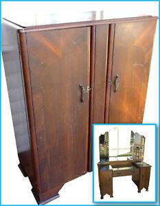 1930's Bedroom Set - Wardrobe & Dressing Table - Vintage Antique Collectable