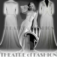 VINTAGE 30s DRESS WEDDING SILK SATIN  6 8 10 12 36 38 40 GATSBY GODDESS 40s VAMP