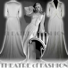 VINTAGE 30s DRESS WEDDING SILK SATIN  6 8 10 12 14 GATSBY GODDESS 40s 20s VAMP