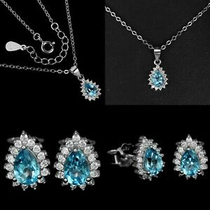 AWESOME STERLING SWISS BLUE TOPAZ NECKLACE STUD EARRINGS SET