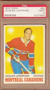 1970-71 TOPPS # 52 JACQUES LAPERRIERE PSA 9 MINT CANADIENS MONTREAL
