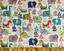 Dinosaur Elephant Cat Boys Flannel Fabric Orange Turquoise Green Blue Grey Red