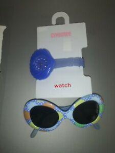 Gymboree Mermaid Magic blue shell watch and little girl sunglasses accessory lot