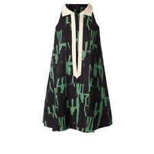 Orla Kiely Emerald/NavyTextured 100% Silk Collared Sleeveless Dress Size 12 UK