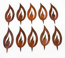 Flamme 10er Set Edelrost Metall, Rost Dekoration Kerze Weihnachten 15,5cm
