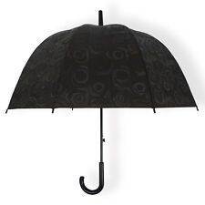 3D Rose Print Umbrella Black Clear Transaparent Dome Birdcage Rain Umbrella